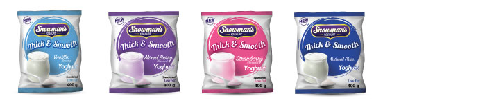 snowmans thick and smooth youghurt sachets